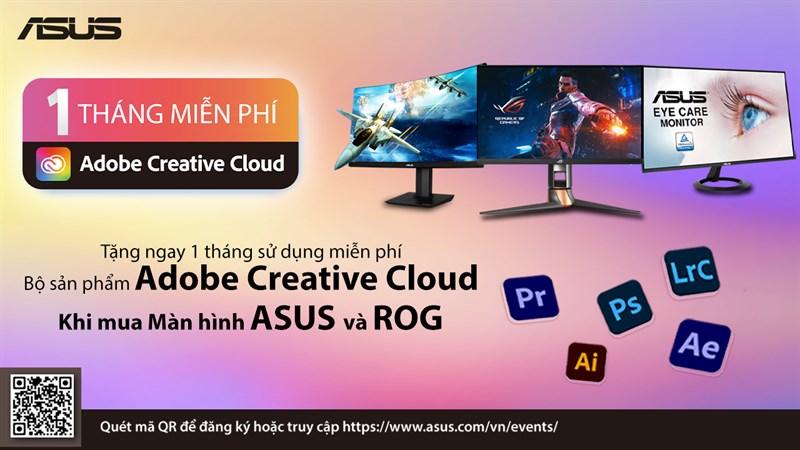 Mua màn hình máy tính ASUS, nhận ngay Adobe Creative Cloud miễn phí