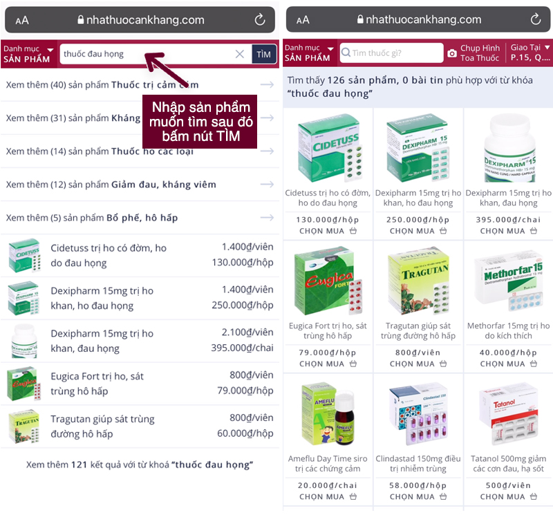 Tìm kiếm sản phẩm cần mua