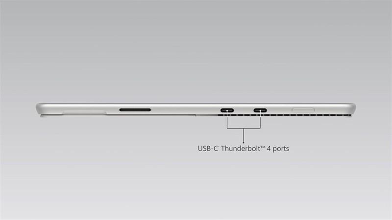 Surface Pro 8 năm nay được trang bị 2 cổng USB Type-C Thunderbolt 4. Nguồn: Microsoft.