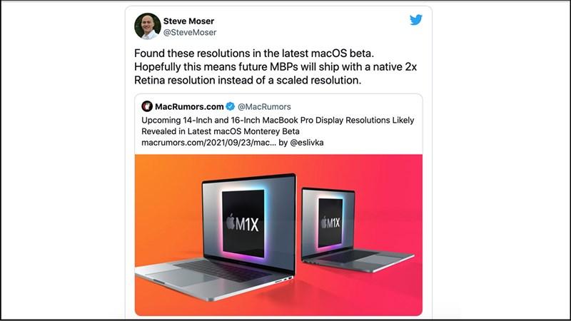 Dòng Twitter của Steve Moser đề cập tới độ phân giải mới trên macOS