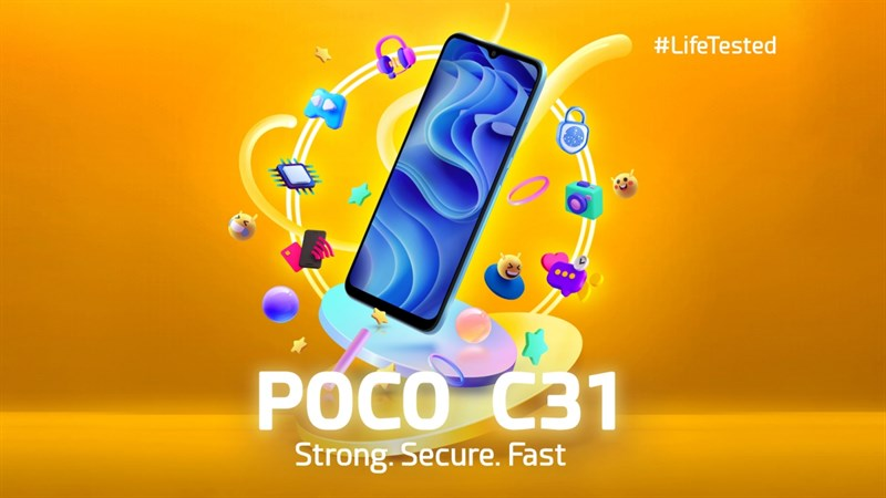 POCO C31 có màn hình notch hình giọt nước