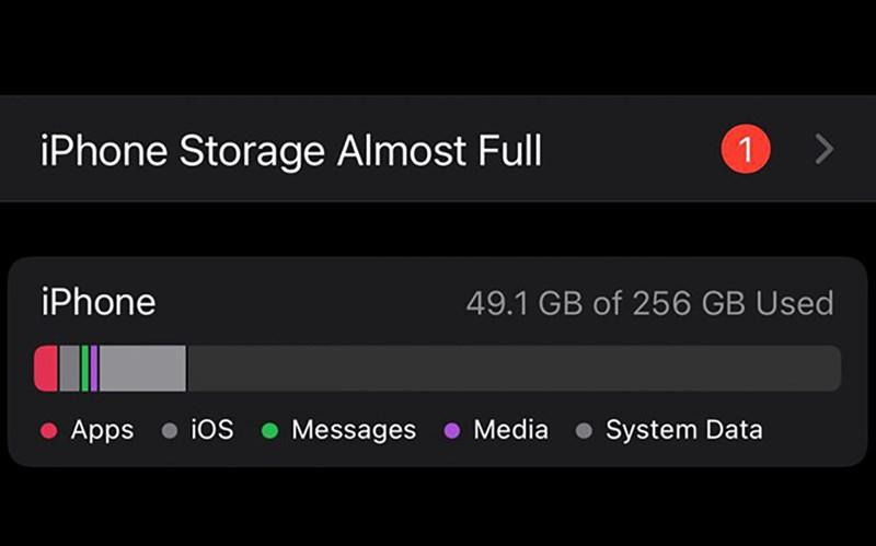Lỗi thông báo bộ nhớ iPhone bị đầy ở iOS 15 chính thức. Nguồn: Macrumors.