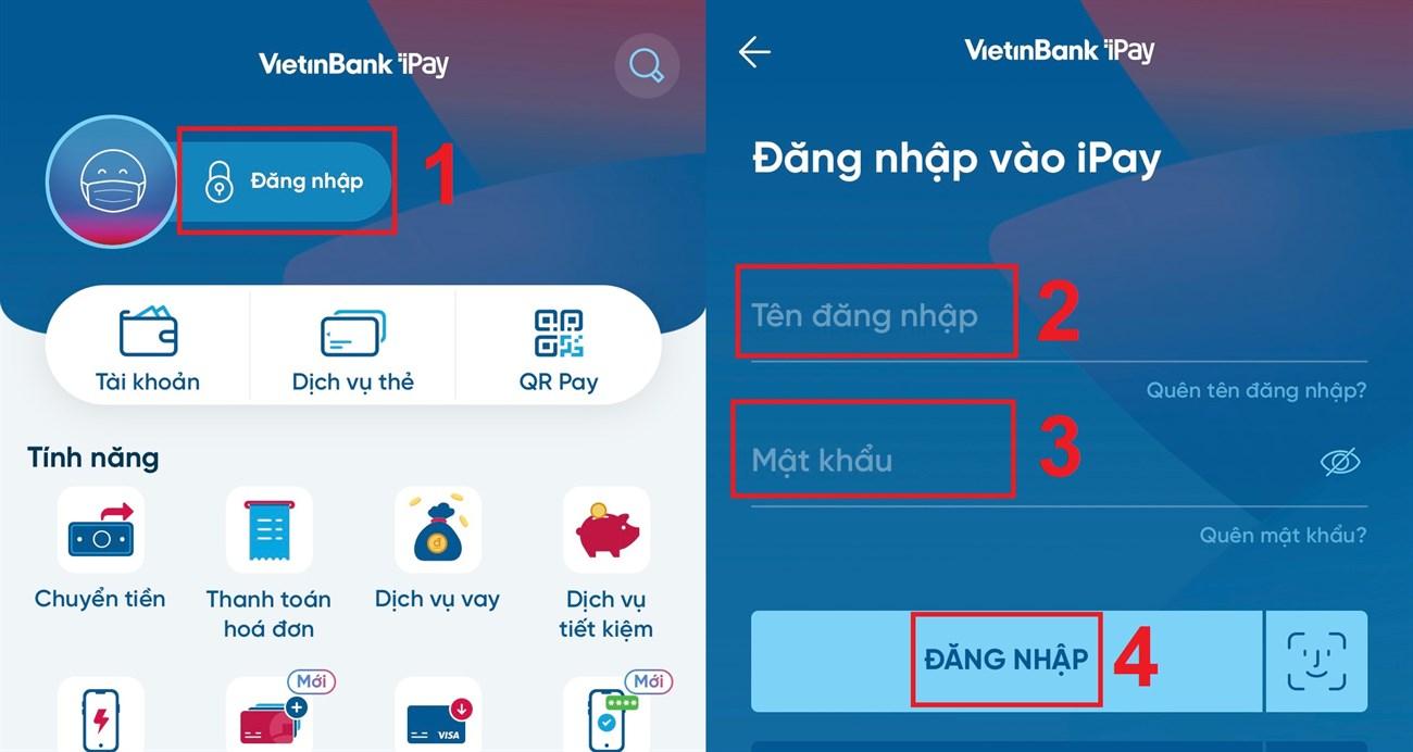 Đăng nhập vào tài khoản Vietinbank mà bạn đang sử dụng.