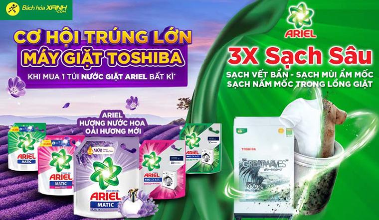 Mua nước giặt Ariel - cơ hội quay số trúng lớn máy giặt Toshiba cao cấp