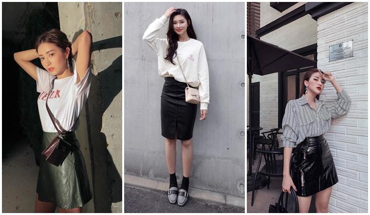 Học giới fashonista cách phối đồ với chân váy da siêu ấn tượng