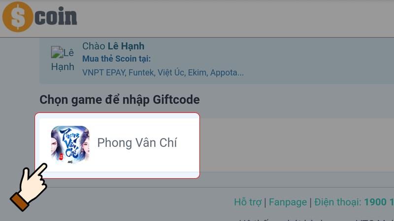 Nhấn chọn chọn game Phong Vân Chí