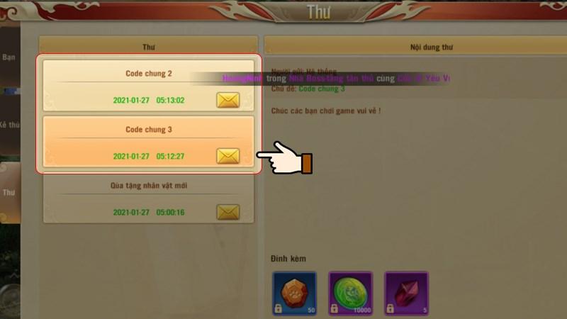 Vào Hòm thư trong game để kiểm tra quà tặng
