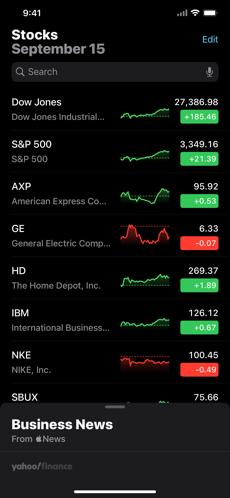 Screenshots Chứng khoán: Ứng dụng theo dõi chứng khoán của riêng Apple