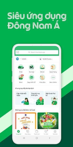 Screenshots Grab - Ứng dụng đặt xe công nghệ