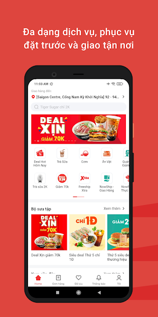 Screenshots Now - Ứng dụng đặt thức ăn nhanh