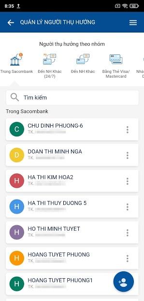 Screenshots Sacombank mBanking - Ứng dụng dành cho chủ thẻ Sacombank
