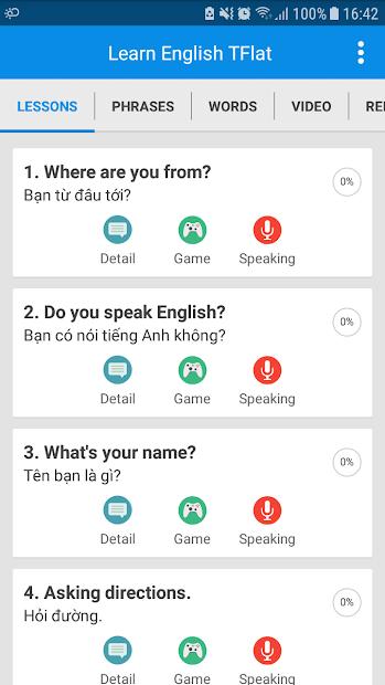 Screenshots Học Tiếng Anh Giao Tiếp TFlat: Ứng dụng học tiếng Anh giao tiếp miễn phí
