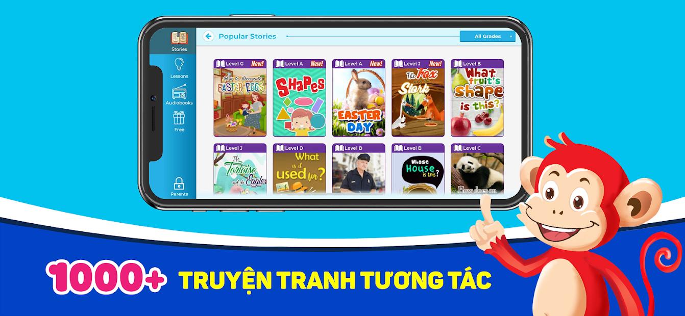 Ứng dụng Monkey Stories: Học tiếng Anh dành cho trẻ em | Link tải free,  cách sử dụng