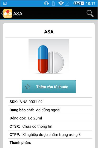 Screenshots Từ điển thuốc: Tra cứu thuốc