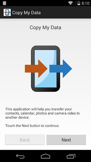 Screenshots Copy My Data: Di chuyển danh bạ sang điện thoại khác