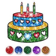 Glitter Birthday Cake Coloring and Drawing - Sách vẽ và tô màu bánh sinh nhật lấp lánh
