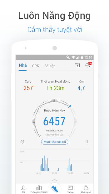 Screenshots Ứng dụng đếm bước chân, tính calo, quản lý chỉ số cơ thể