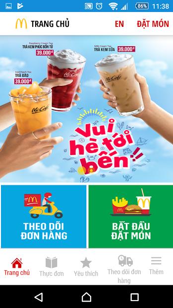 Screenshots McDelivery Vietnam-  Ứng dụng đặt gà rán McDonald's tại nhà, nhiều khuyến mãi