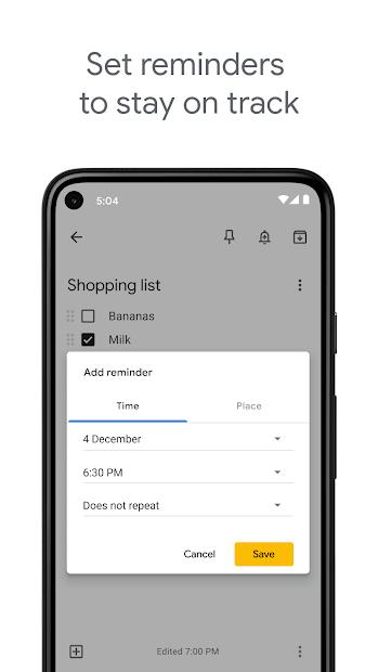 Screenshots Google Keep - ứng dụng ghi chú của Google