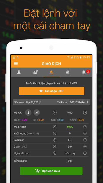 Screenshots Giao dịch chứng khoán VNDIRECT - Cập nhật chỉ số thị trường, giao dịch cổ phiếu
