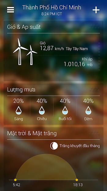 Screenshots Yahoo Thời tiết: Phần mềm dự báo thời tiết