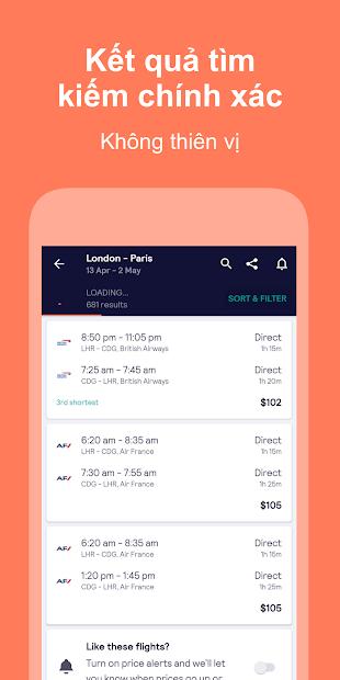 Screenshots Skyscanner - Ứng dụng đặt vé máy bay, phòng khách sạn giá rẻ