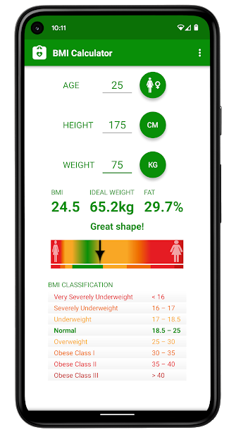 Screenshots Tải BMI Caculator - Tính chỉ số BMI và tỷ lệ chất béo trong cơ thể