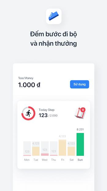 Screenshots Toss: Ứng dụng đi bộ nhận tiền thưởng, đếm bước chân