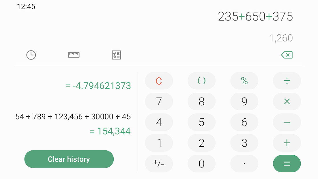 Screenshots Samsung Calculator: Ứng dụng Máy tính mặc định trên thiết bị Samsung