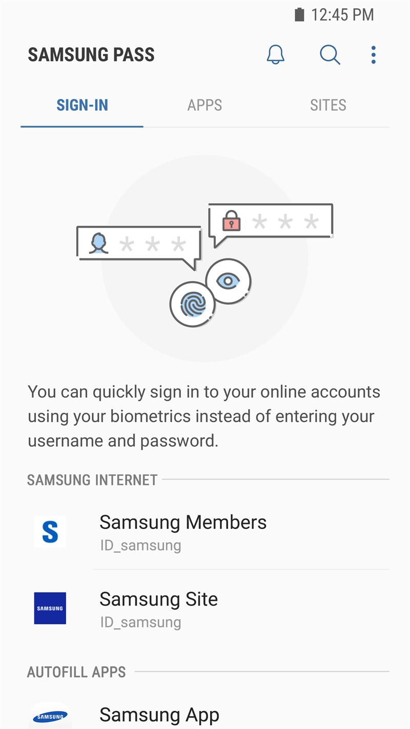 Screenshots Samsung Pass - Công cụ quản lý và lưu mật khẩu của Samsung