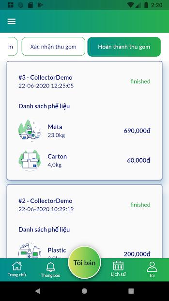 Screenshots VECA: Ứng dụng bán ve chai công nghệ, phân loại phế liệu