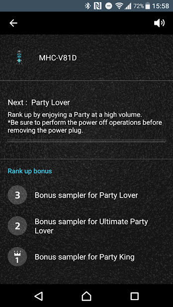 Screenshots Fiestable: Ứng dụng điều khiển âm thanh Sony cho những bữa tiệc