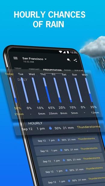 Screenshots 1Weather - Ứng dụng dự báo thời tiết, lượng mưa, nhiệt độ