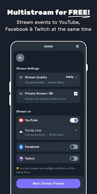 Screenshots Tải Turnip: Ứng dụng hỗ trợ Livestream, cộng đồng trò chơi trực tuyến