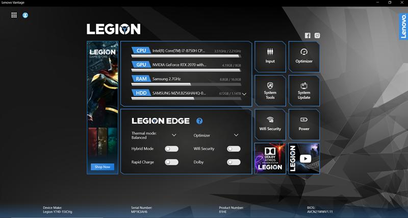 Screenshots Lenovo Vantage for Gaming: Tối ưu và cá nhân hóa cài đặt chơi game