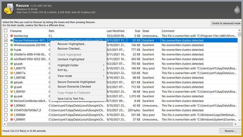 Screenshots Recuva - Phần mềm khôi phục tập tin, dữ liệu trên máy tính