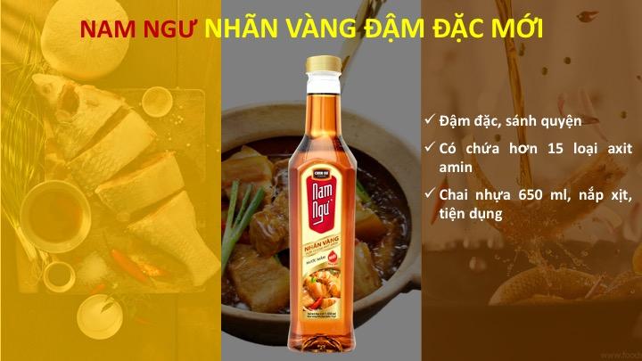 Nước mắm Nam Ngư nhãn vàng chai 650ml chứa hơn 15 loại axit amin