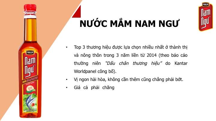 Nước mắm Nam Ngư đạt top 3 thương hiệu được lựa chọn nhiều nhất