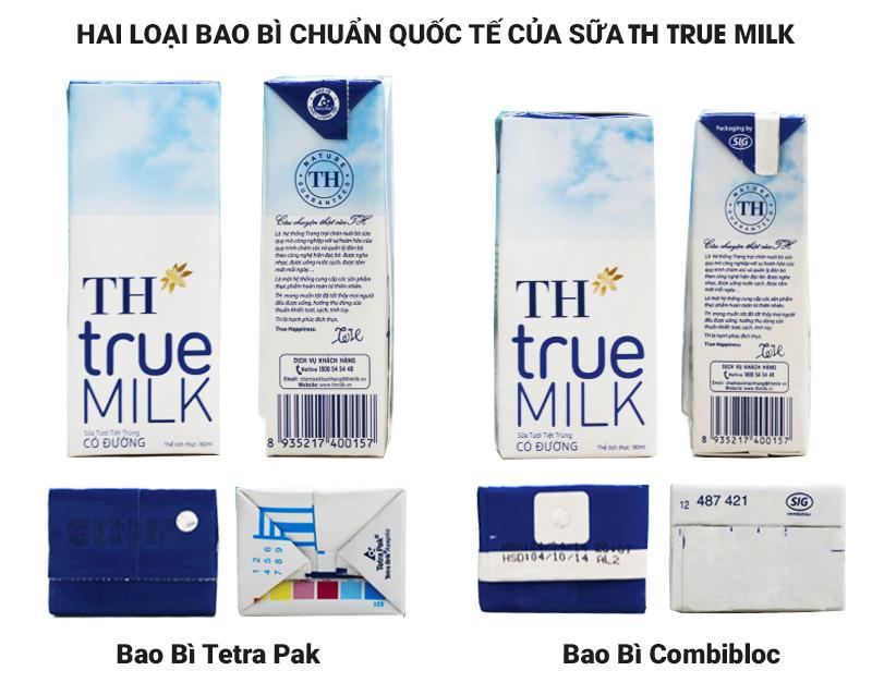 Hai loại bao bì của sữa TH True Milk