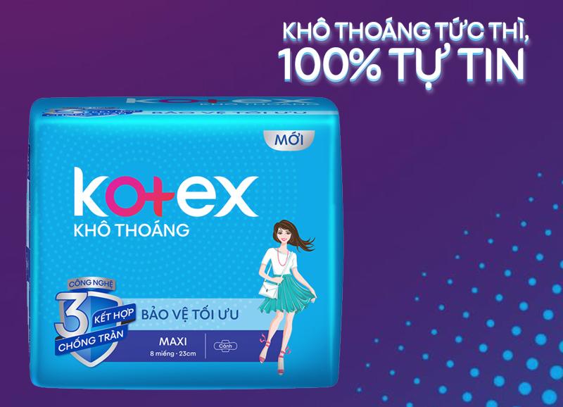 Băng vệ sinh Kotex khô thoáng Maxi có cánh 8 miếng