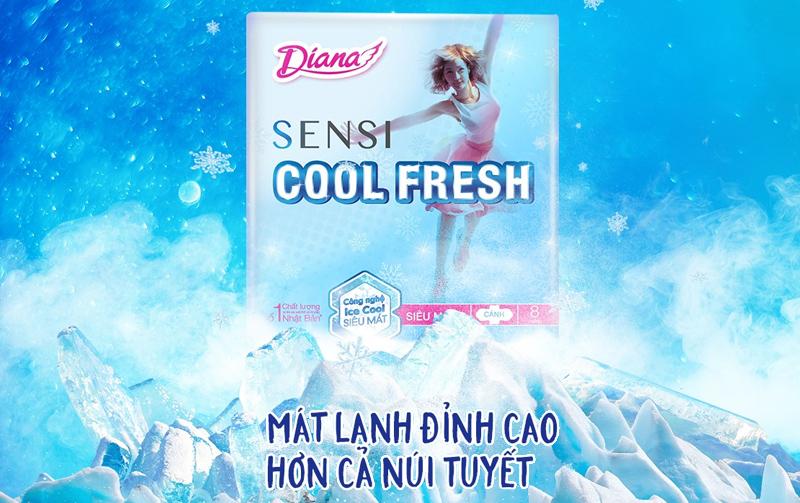 Băng vệ sinh Diana Sensi Cool Fresh siêu mỏng có cánh 8 miếng