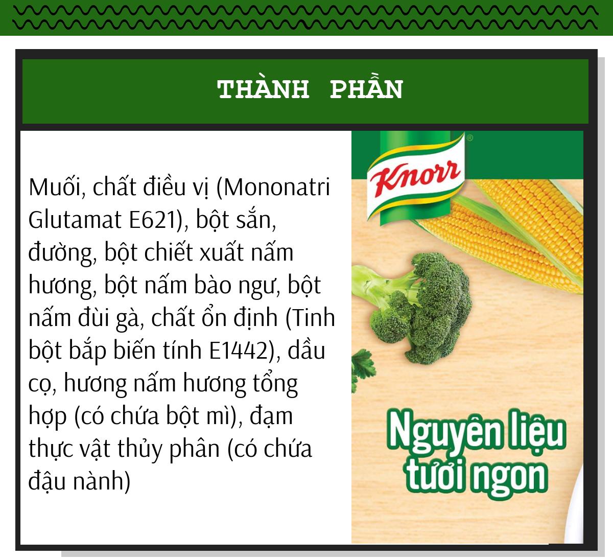 Thành phần hạt nêm chay nấm hương Knorr