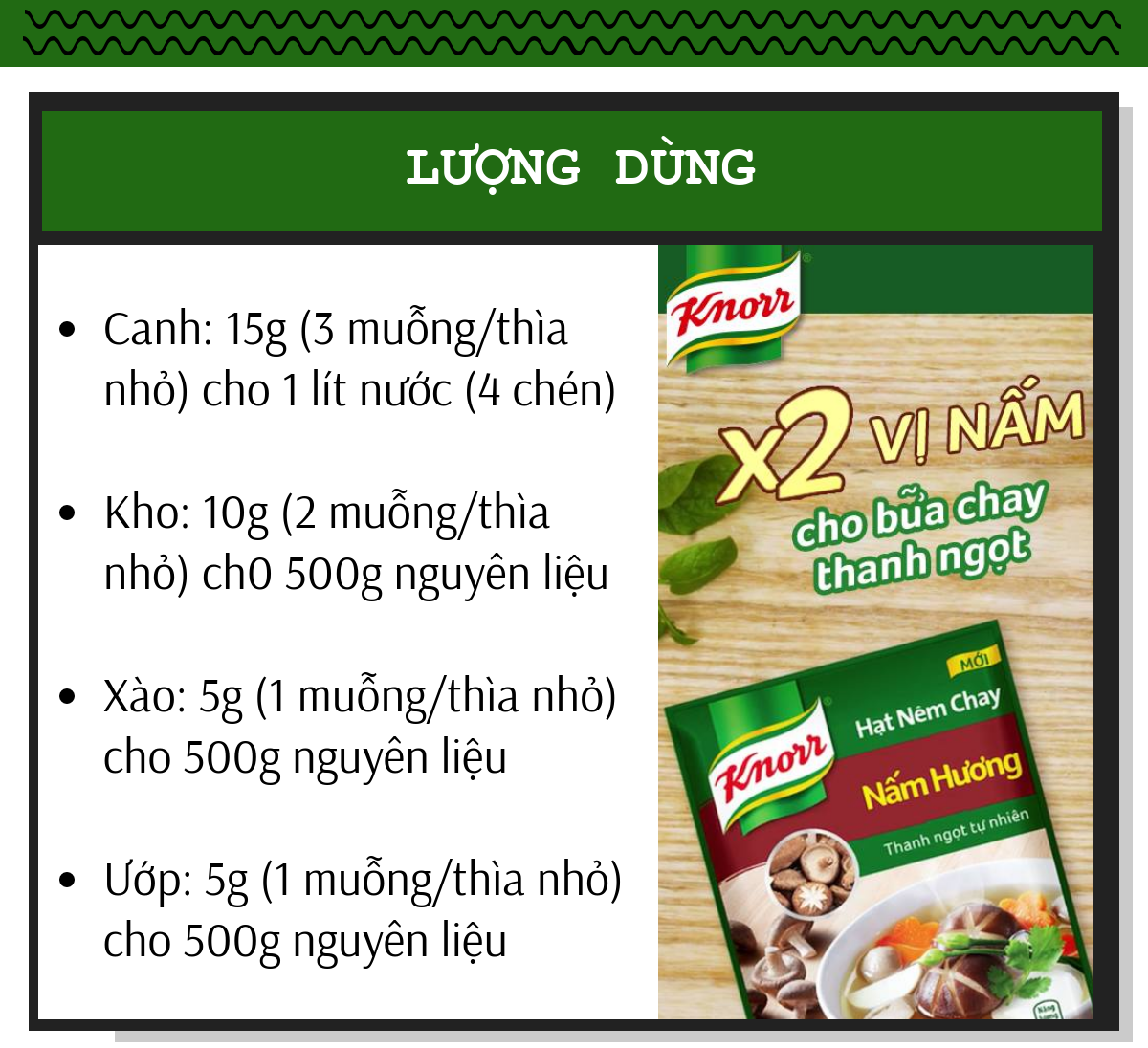 Lượng dùng Knorr nấm hương cho các món ăn