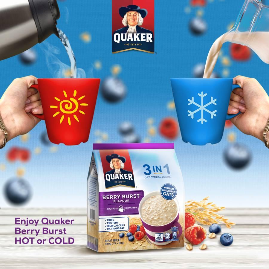 Yến mạch Quaker có thể dùng nóng hoặc lạnh