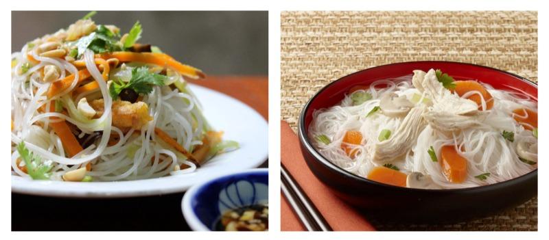 Món ăn với bún gạo hữu cơ Bích Chi
