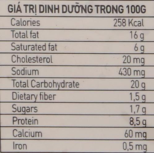 Giá trị dinh dưỡng trong 100g Mandu Bibigo nhân thịt