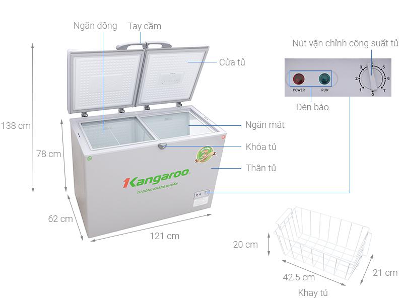 Thông số kỹ thuật Tủ đông Kangaroo 256 lít KG 388C2