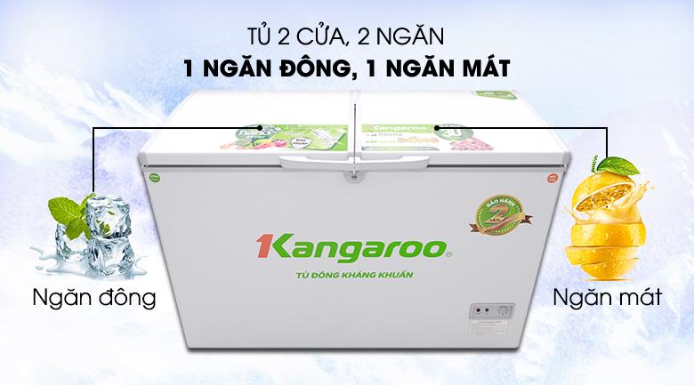 Kiểu dáng nắp dỡ, 2 ngăn tiện lợi - Tủ đông Kangaroo 388 lít KG388C2