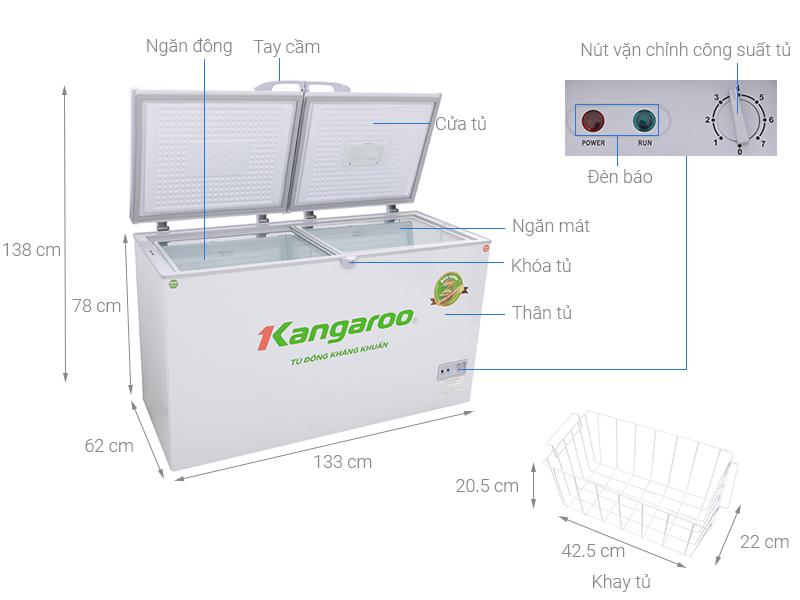 Thông số kỹ thuật Tủ đông Kangaroo 418 lít KG418C2