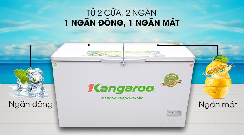 Tủ đông thiết kế 2 ngăn - Tủ đông Kangaroo 418 lít KG418C2